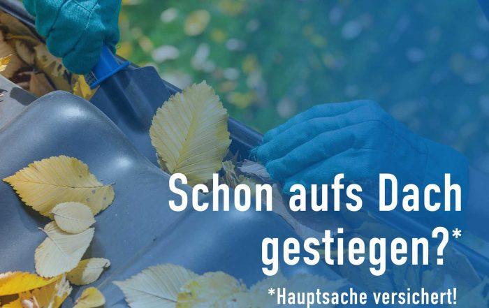 Herbstzeit Dachrinne reinigen, Gebäudeversicherung